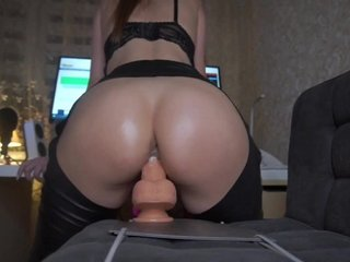 Girl with amazing ass rides a dildo